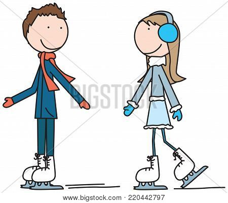 Illustration of two happy kids ice skating