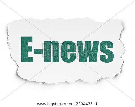 News concept: Painted green text E-news on Torn Paper background with  Tag Cloud