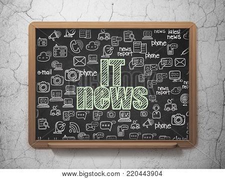News concept: Chalk Green text IT News on School board background with  Hand Drawn News Icons, 3D Rendering