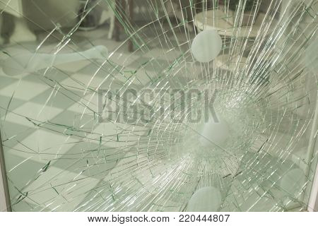 Damaged door or window after a burglary