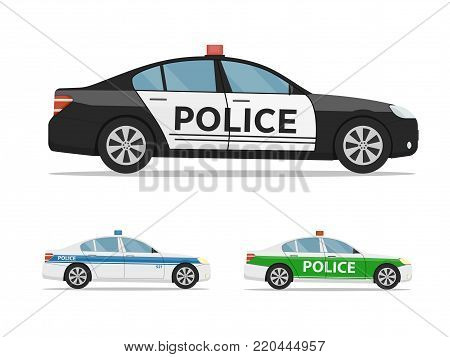 Set of police cars side view, isolated on white background. International police car. Vector illustration in flat style.