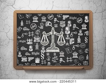 Law concept: Chalk White Scales icon on School board background with  Hand Drawn Law Icons, 3D Rendering