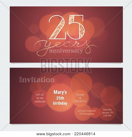 25 years anniversary invitation to celebration vector illustration. Graphic design element with bokeh effect for 25th birthday card, party invite