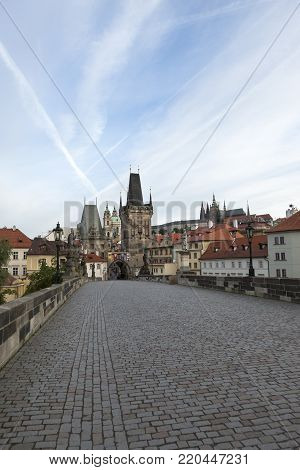 Beautiful view of Prague castle from the Charles bridge