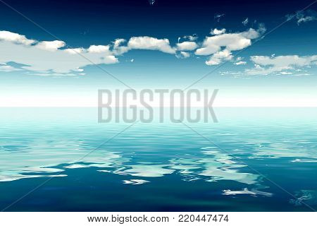Beautiful sea and clouds sky - 3D illustration