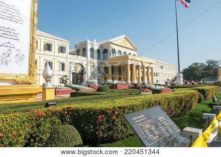 Bangkok, Thailand - December 22 2017: Ministry Of Defence Building At Sunny Day In Bangkok, Thailand