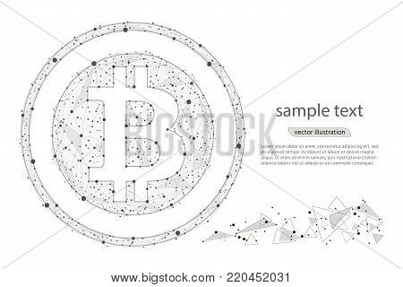 Bitcoin digital currency coin damage world finance system .isolated from low poly wireframe on white background. Vector abstract polygonal image mash line and point. Crypto currency token coins with bitcoin . Blockchain cryptocurrency concept.
