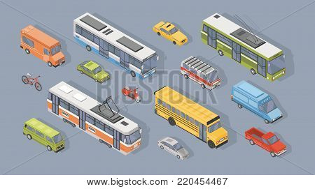 Collection of isometric motor vehicles isolated on gray background - car, scooter, bus, tram, trolleybus, minivan, bicycle, pickup truck. Set of automobile transport. Colorful vector illustration