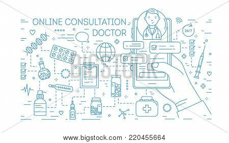 Hand holding mobile phone with internet messages from doctor on screen drawn with blue line on white background. Medical online consultation. Banner in lineart style. Monochrome vector illustration