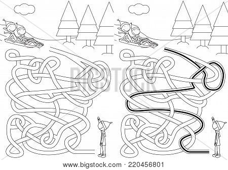 Sledding maze for kids with a solution in black and white