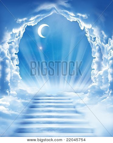 islamic fantasy.stairs in sky