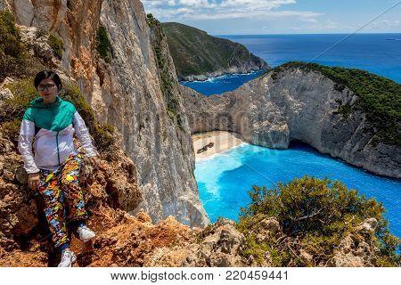Navagio (shipwreck) Beach In Zakynthos Island, Greece.