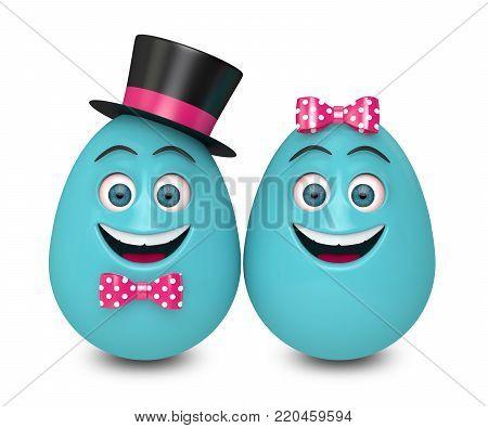 3d render of Easter cartoon eggs over white background