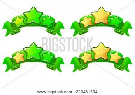 level complete templates, stars rank on green ribbon, assets for games design, Cartoon game rating icons. Ranking elements. GUI elements for animation