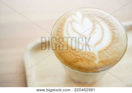 Latte Or Cappuccino With Frothy Foam Top On Cup