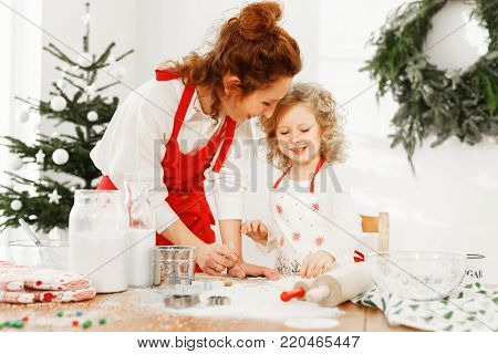 Portrait of cheerful mother and daughter wear aprons, stand on kitchen, prepare delicious pie for New Year table. Talented female cook teaches her little child to bake cookies. Parents, baking concept