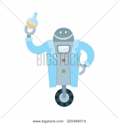 Funny flat humanoid robot chemist holding test-tube. Male character with wheel in robe holding laboratory glassware. Modern technology, artificial intelligence concept. Isolated vector illustration