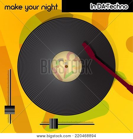Techno music cover, cd cover poster, plate EPS 10