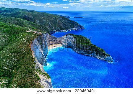 Aerial View Of Navagio (shipwreck) Beach In Zakynthos Island, Greece