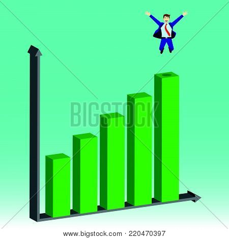 Business Concept As A Businessman Is Jumping On Growth Bar Graph. He Is Proud Of Self Performance, Delightful And Enjoying The New Growth Of Opportunity With Full Pleasure, Motivation, Encouragement.