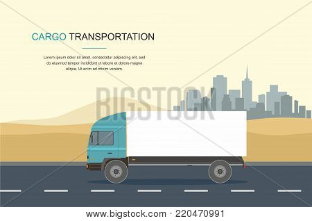 Blue Cargo Delivery Truck Isolated on in the desert and sity Background