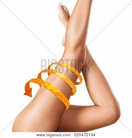 Female legs with big orange peel arrow shows tightening effect. Isolated on white.