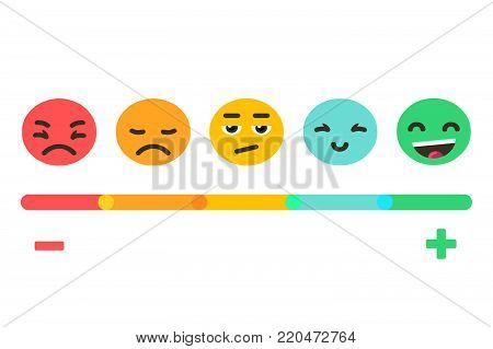 Feedback concept emotions scale background. Vector banner design.