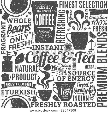 Retro styled typographic vector coffee and tea seamless pattern or background. Mugs, beans and equipment icons for coffeehouse, espresso bar, restaurant, cafe, packaging, branding and identity.