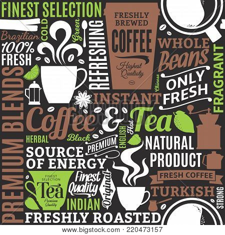 Typographic vector coffee and tea seamless pattern or background. Mugs, beans and equipment icons for coffeehouse, espresso bar, restaurant, cafe, packaging, branding and identity.