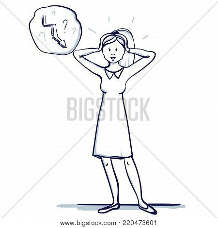 Young business woman stands. She holds his hands to his head. The failure, defeat, trend fall. Hand drawn doodle cartoon vector illustration.