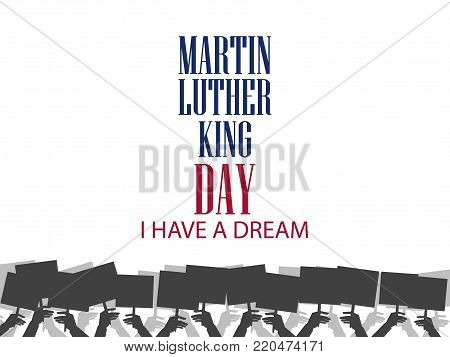 Martin Luther King Day. Holiday Background With Flag Usa Isolated On White Background. Vector Illust