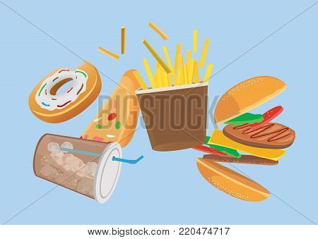 Fast food set floating in the air isolated on blue background. This illustration about zero gravity concept.