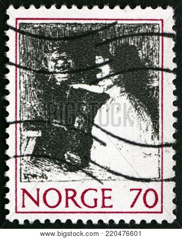 NORWAY - CIRCA 1971: a stamp printed in the Norway shows the Troll and the Girl, Illustration for Legends and Folk Tales by Erik Werenskiold, circa 1971