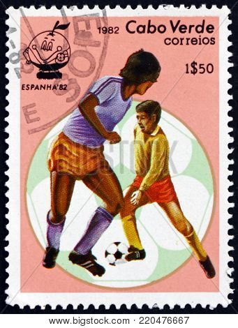 CAPE VERDE - CIRCA 1982: a stamp printed in the Cape Verde shows soccer players and ball, 1982 World Cup, circa 1982
