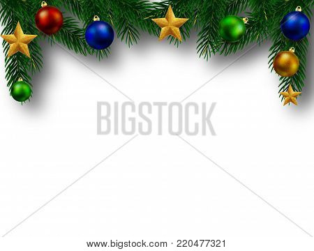 Christmas tree branch with embellishment, vector art illustration New Year.
