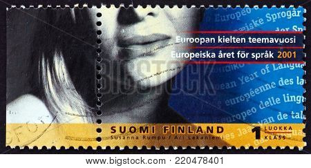 FINLAND - CIRCA 2001: a stamp printed in Finland dedicated to European Year of Languages, circa 2001