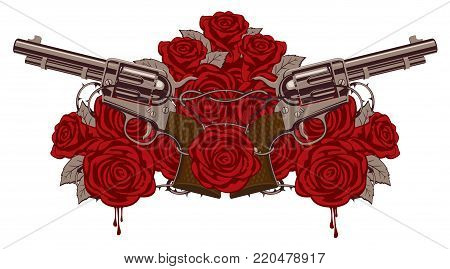 Vector illustration with two big old revolvers, red roses and barbed wire isolated on white background