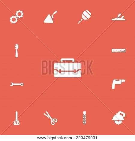 Set of 13 editable tools icons. Includes symbols such as scissors, cordless polisher, ruler and more. Can be used for web, mobile, UI and infographic design.