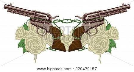 Vector illustration with two big old revolvers, white roses and barbed wire isolated on white background
