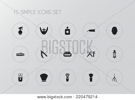 Set of 15 editable tonsorial artist icons. Includes symbols such as massage machine, razor, window cleaner and more. Can be used for web, mobile, UI and infographic design.
