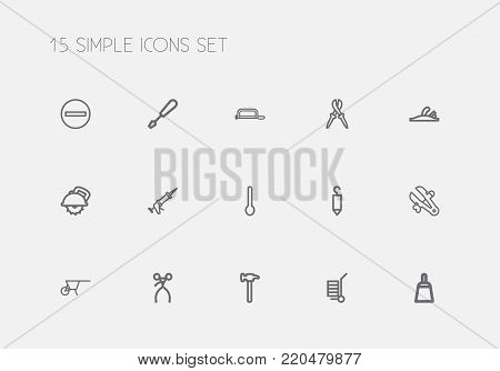 Set of 15 editable equipment icons line style. Includes symbols such as handcart, pliers, plane. Can be used for web, mobile, UI and infographic design.