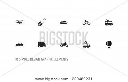 Set of 10 editable transport icons. Includes symbols such as food transport, chopper, motorbike and more. Can be used for web, mobile, UI and infographic design. poster