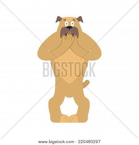 Dog scared OMG. Pet Oh my God emoji. Frightened bulldog. Vector illustration