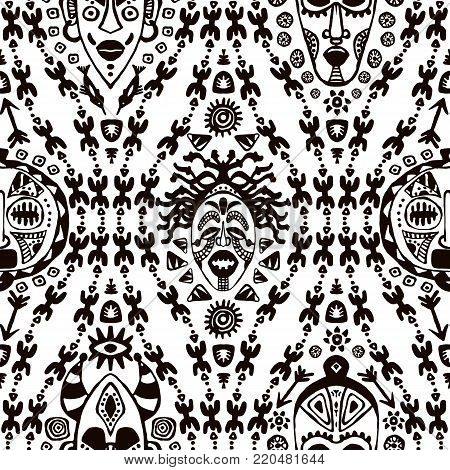 Hand drawn seamless pattern with Tribal mask ethnic. Sketch for your design, wallaper, textile, print. African culture. Fabric afro ornament. Coloful batik art. Black color on white background