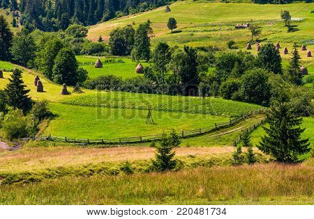 agricultural hills and haystacks. lovely rural scenery in springtime. outdated industrial approach, traditional farming concept
