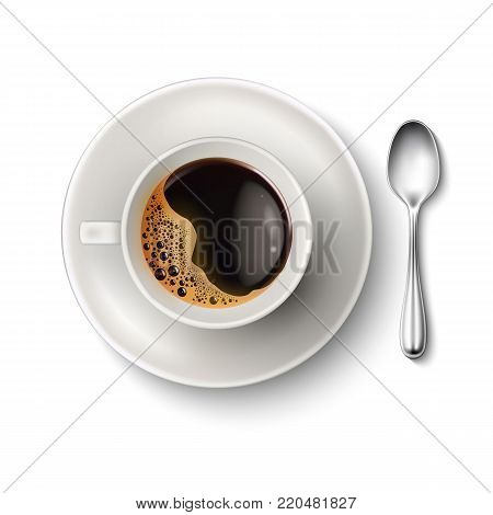 Vector realistic cup of brown coffee with foam bubbles on saucer, spoon top view closeup. Hot beverage, drink in white ceramic porcelain cup. Business, morning refreshing symbol, isolated illustration