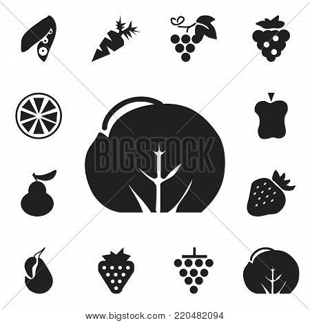 Set of 12 editable fruits icons. Includes symbols such as bitten, root vegetable, soybean and more. Can be used for web, mobile, UI and infographic design.