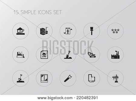 Set of 15 editable building structures icons. Includes symbols such as brush, house planning, spade and more. Can be used for web, mobile, UI and infographic design.