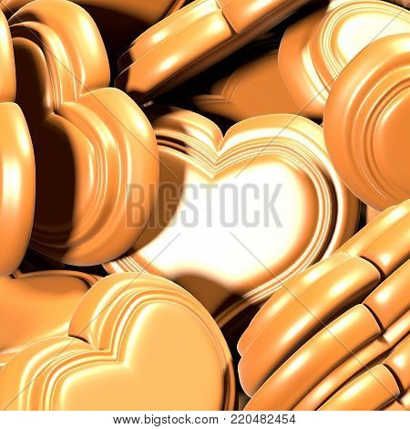 Chocolate Hearts Background 3D Rendered Illustration. Ligth Milk Chocolates Texture Top View for Valentine's Day