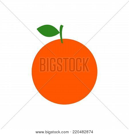 Orange fruit with leaf isolated on white background. Vector stock.